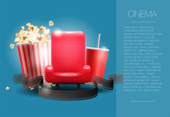 Vector illustration. Movie cinema premiere poster design. Vector template banner for show with seats, popcorn