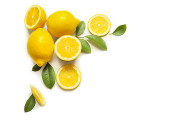 Composition of delicious citrus fruit and green leaves on white background Fototapete