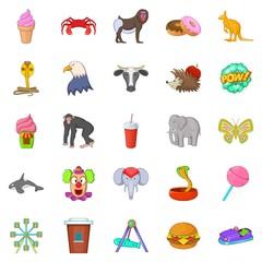 Zoo icons set, cartoon style