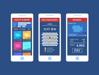 Online purchase of movie tickets. Concepts online cinema ticket order smartphone touching buy app,