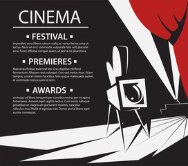 Movie retro posters and flyer. Vintage cinema promotional printing banner.