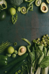 Green vegetables and fruits with copy space