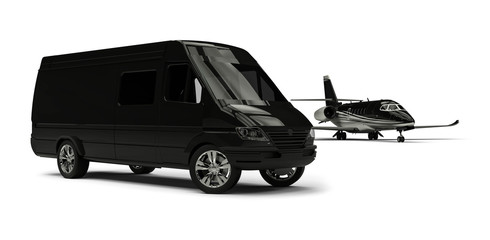 Van limousine with private jet / 3D render image representing an ptivate jet with a van limousine