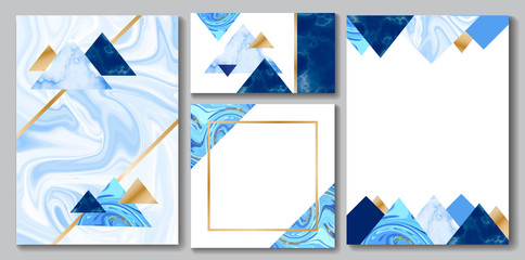 Stone brochure, banner layout set, marble business card or background in trendy minimalistic geometric style, triangle, blue color, granite, glitter, frame, vector fashion wallpaper, poster, cover