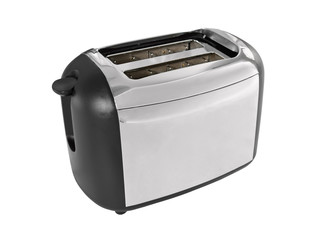 Reflective modern toaster isolated on white.