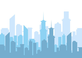 Vector illustration. City skyline silhouette. Urban landscape.