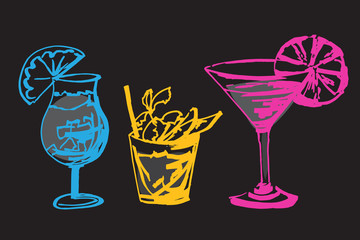 Set with hand drawn cocktails glasses.