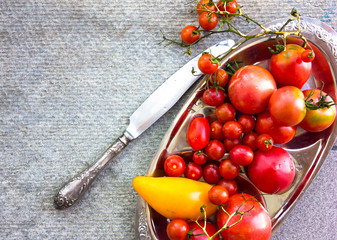 Various colorful tomatoes on silver plate on stone table. Different kinds of fresh organic tomato on grey concrete background with place for text. Farm healthy eating concept. Top view. Copy space.