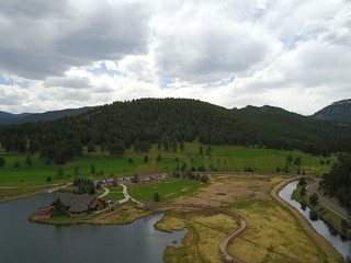 Aerial View of Lake and Land
