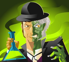 doctor jekyll and mister hyde monster tranformation with green potion