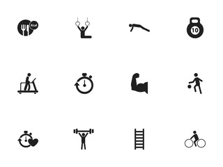 Set Of 12 Editable Sport Icons. Includes Symbols Such As Bodybuilding, Biceps, Sportsman And More. Can Be Used For Web, Mobile, UI And Infographic Design.