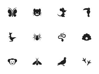 Set Of 12 Editable Animal Icons. Includes Symbols Such As Footprint, Arachnid, Serpent And More. Can Be Used For Web, Mobile, UI And Infographic Design.