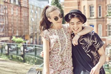 Teenage couple at park
