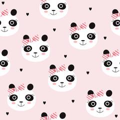 Cute girl panda seamless pattern. Vector hand drawn illustration.