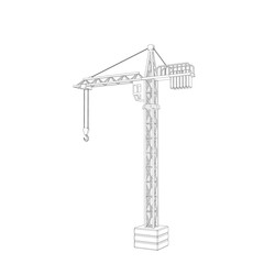 Tower crane. Isolated on white background. Vector outline illustration.