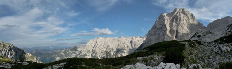 panorama with summit of Stenar above Vrata valley in Triglav national park in Julian Alps in Slovenia