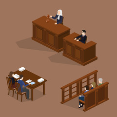 Isometric 3D vector illustration concept the judge conducts the trial. The lawyer protects the defendant. Hall of jury endure verdict