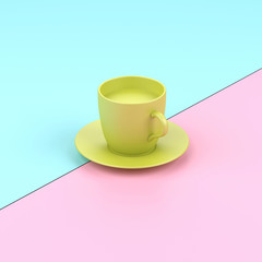 Pastel minimal design glass of coffee.