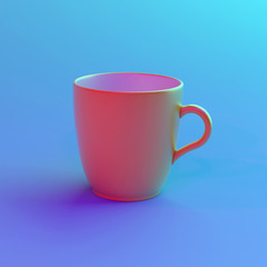 Colorful lighting cup of coffee.