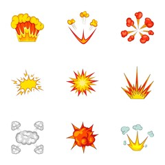 Explode animation effect icons set, cartoon style