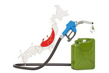 Production and trade of petrol in Japan, concept. 3D rendering