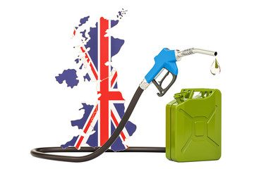 Production and trade of petrol in United Kingdom, concept. 3D rendering
