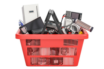 Shopping basket full of home and kitchen appliances, 3D rendering