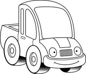 Smiling Cartoon Pickup Truck