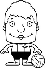 Cartoon Smiling Volleyball Player Woman