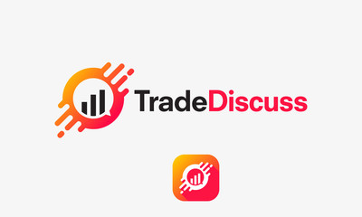 trading news logo template, Trade Discuss Technology logo template designs vector illustration