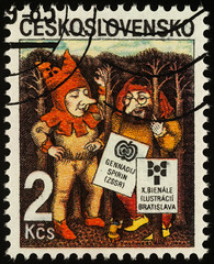 Two elves on postage stamp