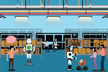 Artificial intelligence concept,Robot used to help customers find product in store - vector
