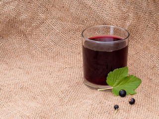 Home made blackcurrant juice cordial in glass.