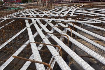 post tension system, concrete reinforcement with tension cables in the structure of beam, system bridge gird floor, floor building underconstruction site, Steel structure Make the structure stronger,
