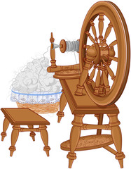 Shepherd Spinning Wheel and Chair