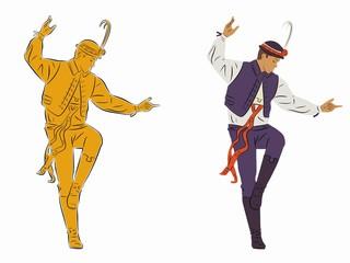illustration of folklore dancer, vector draw