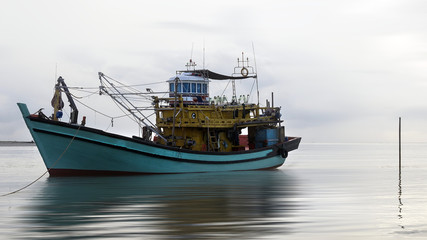 Sea Fishing Boat at a mooring in the bay side