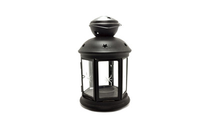 Old dusty oil lamp isolated