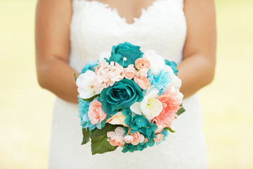 Turquoise flowers and bride
