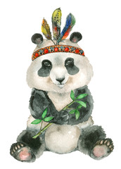 watercolor sitting panda