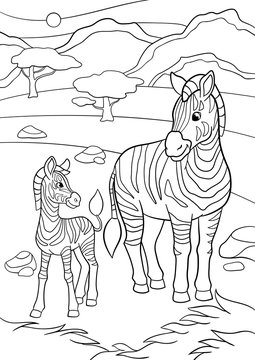 Coloring pages. Mother zebra with her little cute baby.