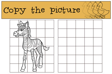 Educational game: Copy the picture. Little cute zebra.
