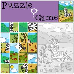 Education game: Puzzle. Little cute baby zebra eats.