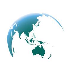 blue world map globe isolated on white background. Focus Asia and Australia