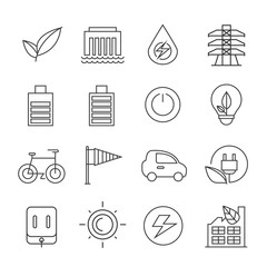electricity energy, clean energy icons