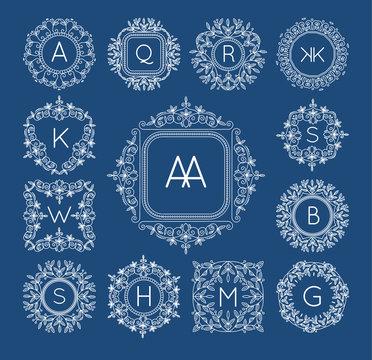 Monogram bage logo vintage frame decoration floral vector