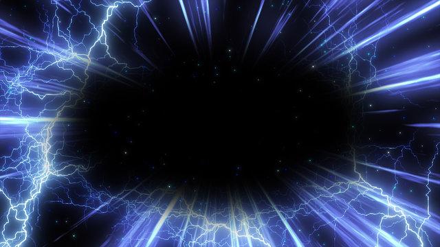 集中線とパーティクルと雷