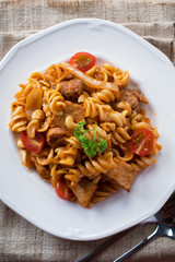 pasta Fusilli with sausage for meal.