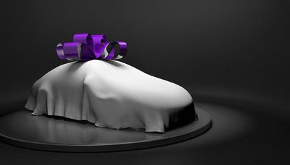 Car show concept of a new car wrapped with a cover and bow about to be revealed, 3D rendering