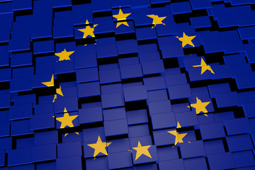European Union flag background formed from digital mosaic tiles, 3D rendering
